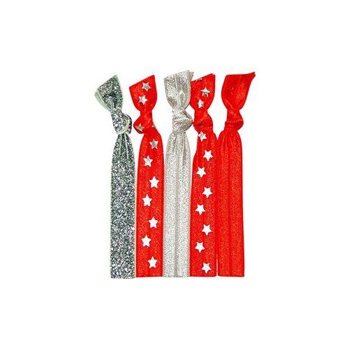 Popband Accessoires Zopfbänder Hair Tie All Star Red-Silver 1 Stk.
