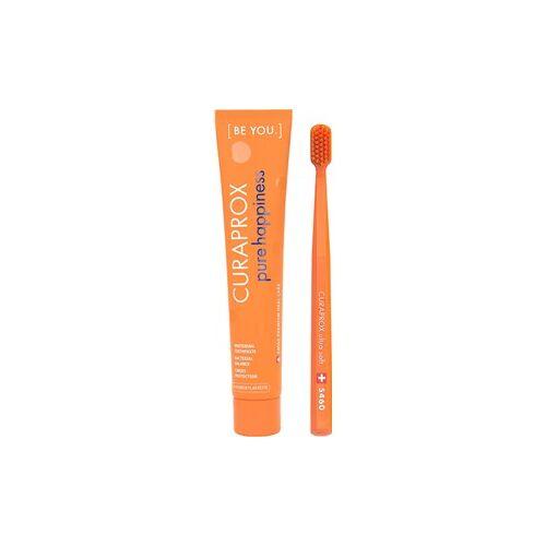 Curaprox Zahnpflege Zahnbürsten [Be You.] Set Pure Happiness Zahnpasta Pfirsich und Aprikose 90 ml + Zahnbürste CS 5460 Ultra Soft Orange 1 Stk.