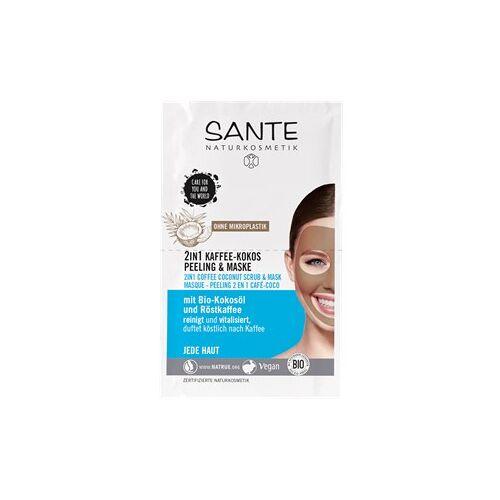Sante Naturkosmetik Gesichtspflege Masken 2 in 1 Kaffee-Kokos Peeling & Maske mit Bio-Kokosöl & Röstkaffee 8 ml