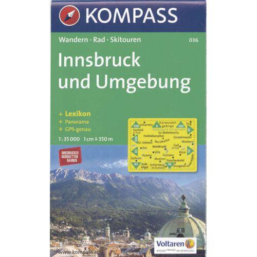 Kompass Karte Nr. 036 Innsbruck und Umgebung   Innsbruck e dintorni 1:35.000