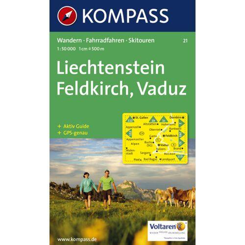 Kompass Karte N.21: Liechtenstein, Feldkirch, Vaduz 1:50.000