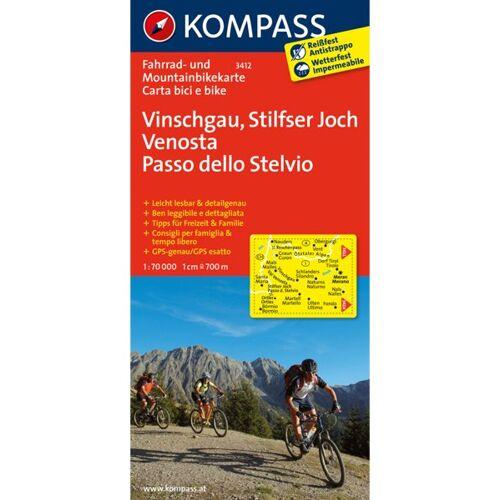 Kompass Karte Nr.3412: Vinschgau, Stilfserjoch 1:70.000