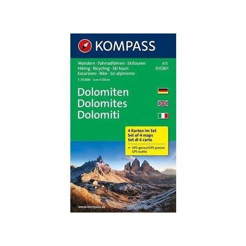 Kompass Karte Nr. 672 Dolomiten - Set 4 Karten