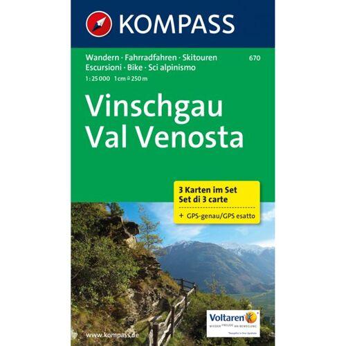 Kompass Karte Nr. 670 Vinschgau 1:25.000 - 3 Karten im Set