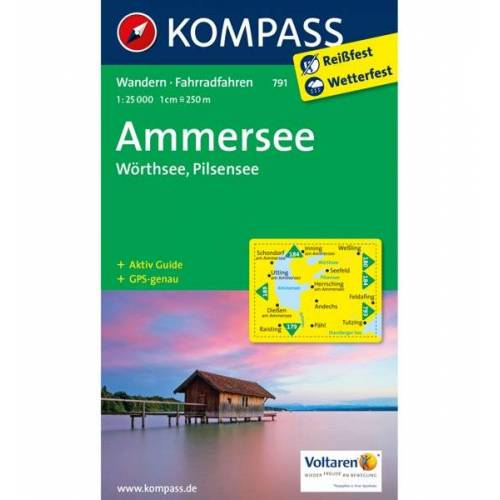 Kompass Karte Nr. 791 Ammersee, Wörthsee, Pilsensee 1: 25.000