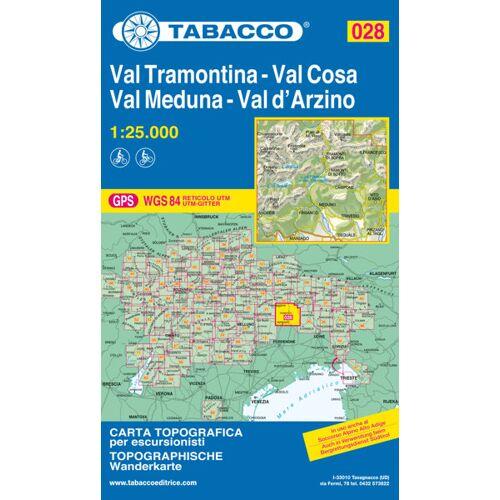 Tabacco Karte N.028 Val Tramontina, Val Cosa, Val Meduna, Val d'Arzino - 1:25.000
