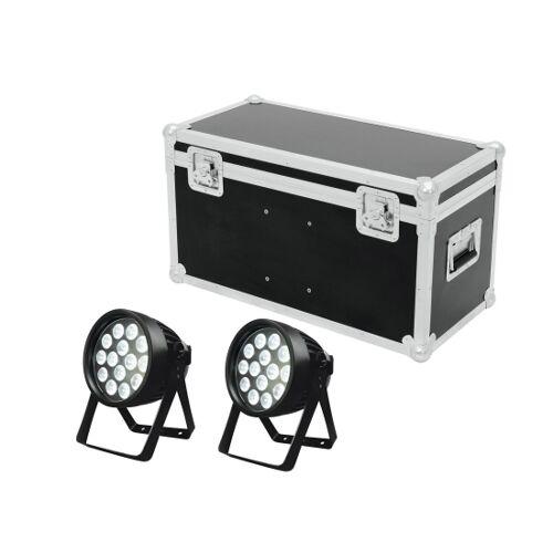 EuroLite LED IP Outdoor PAR 14x8W 2er SET inkl. Case (Truhe)