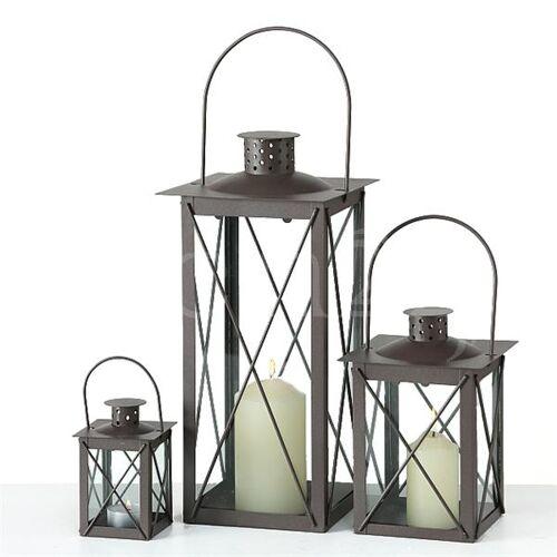 Boltze Laterne Farol 3er-Set als Windlicht mit Echtglas