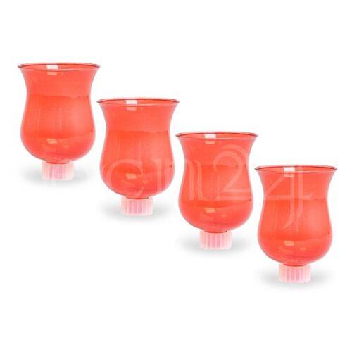 Dragimex Teelichthalter 4er Set rot für Kerzenleuchter