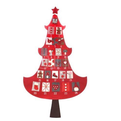 Dragimex Adventskalender Weihnachtsbaum rot 1,55m aus Filz
