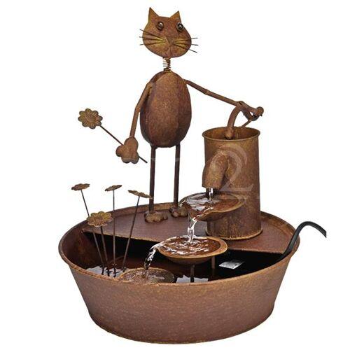 HI Brunnen als Gartenbrunnen aus Metall mit Katze