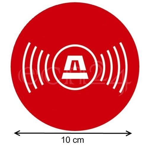 gfx Aufkleber Alarmgesichert Kreis mit Symbol