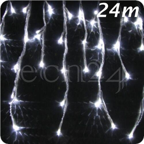 FDL LED Eiszapfen Lichterkette 24m statisches Licht