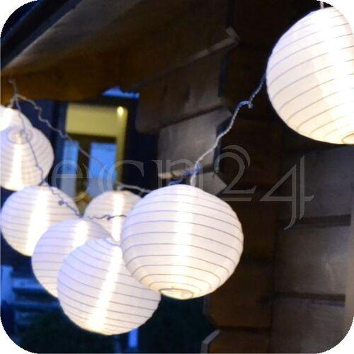 HI LED Lampionkette 3,6m mit 10 XXL Lampions weiss