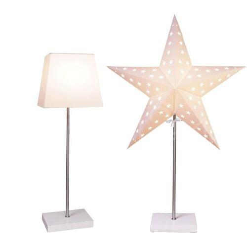 Best Season Tischlampe Combi weiß mit Lampenschirm und Stern