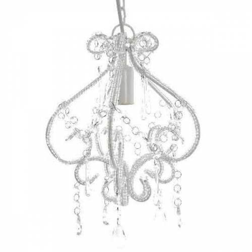 Kaemingk Kronleuchter 32cm weiß mit Perlen und E14 Fassung