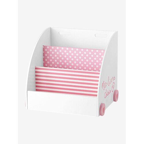Vertbaudet Fahrbares Bücherregal für Kinder weiß/rosa von vertbaudet