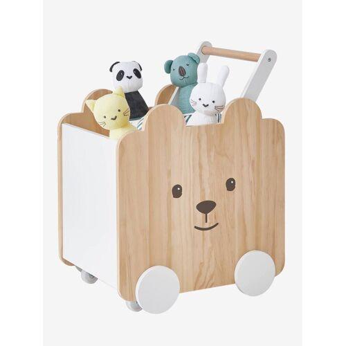 Vertbaudet Fahrbare Spielzeugbox mit Teddy natur/weiß von vertbaudet