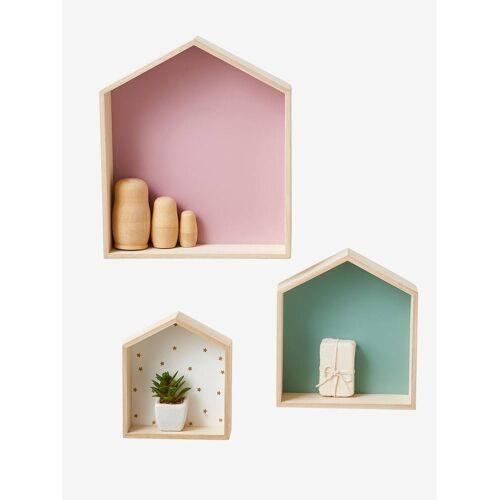 Vertbaudet 3er-Set Wandregale in Hausform, Setzkasten rosa von vertbaudet