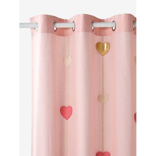Vertbaudet Kinderzimmer-Vorhang mit Herz-Girlande rosa Gr. 135x180 von vertbaudet