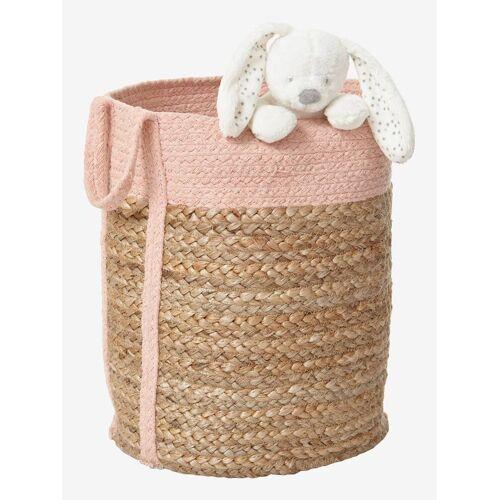Vertbaudet Aufbewahrungskorb aus Jute & Baumwolle natur/rosa von vertbaudet