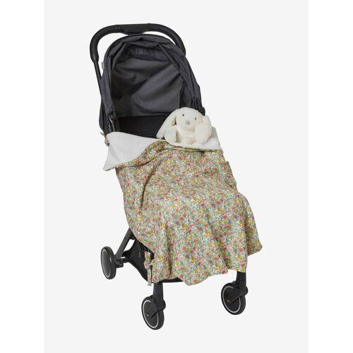 Vertbaudet Wendbare Kinderwagen-Decke grün/rosa geblümt von vertbaudet