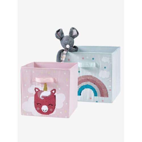 Vertbaudet 2 Aufbewahrungsboxen mit Wendepailletten rosa von vertbaudet