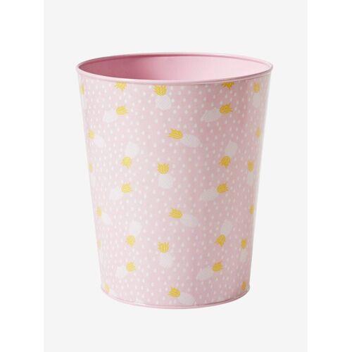 Vertbaudet Kinderzimmer Papierkorb aus Metall, Ananas rosa/ananas von vertbaudet