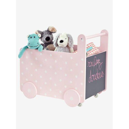 Vertbaudet Fahrbare Spielzeugkiste mit Tafel rosa/sterne von vertbaudet