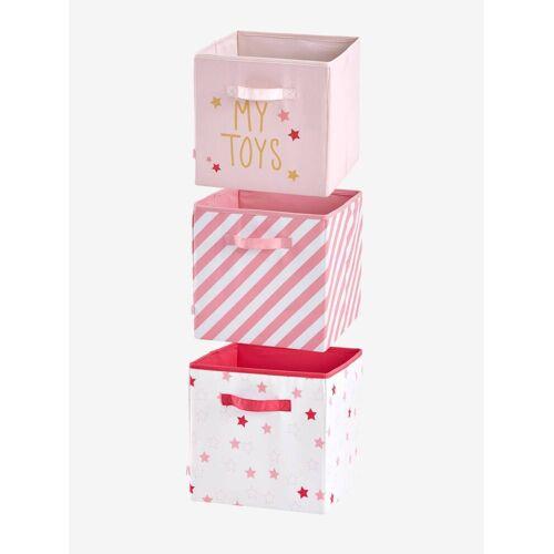 Vertbaudet 3er-Set Aufbewahrungsboxen, Stoff rosa/mehrfarbig von vertbaudet