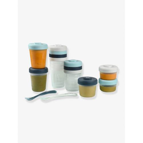 Beaba Erste-Mahlzeit-Set, 12 Portionsbehälter mit 2 Löffeln BEABA® blau/(storm)