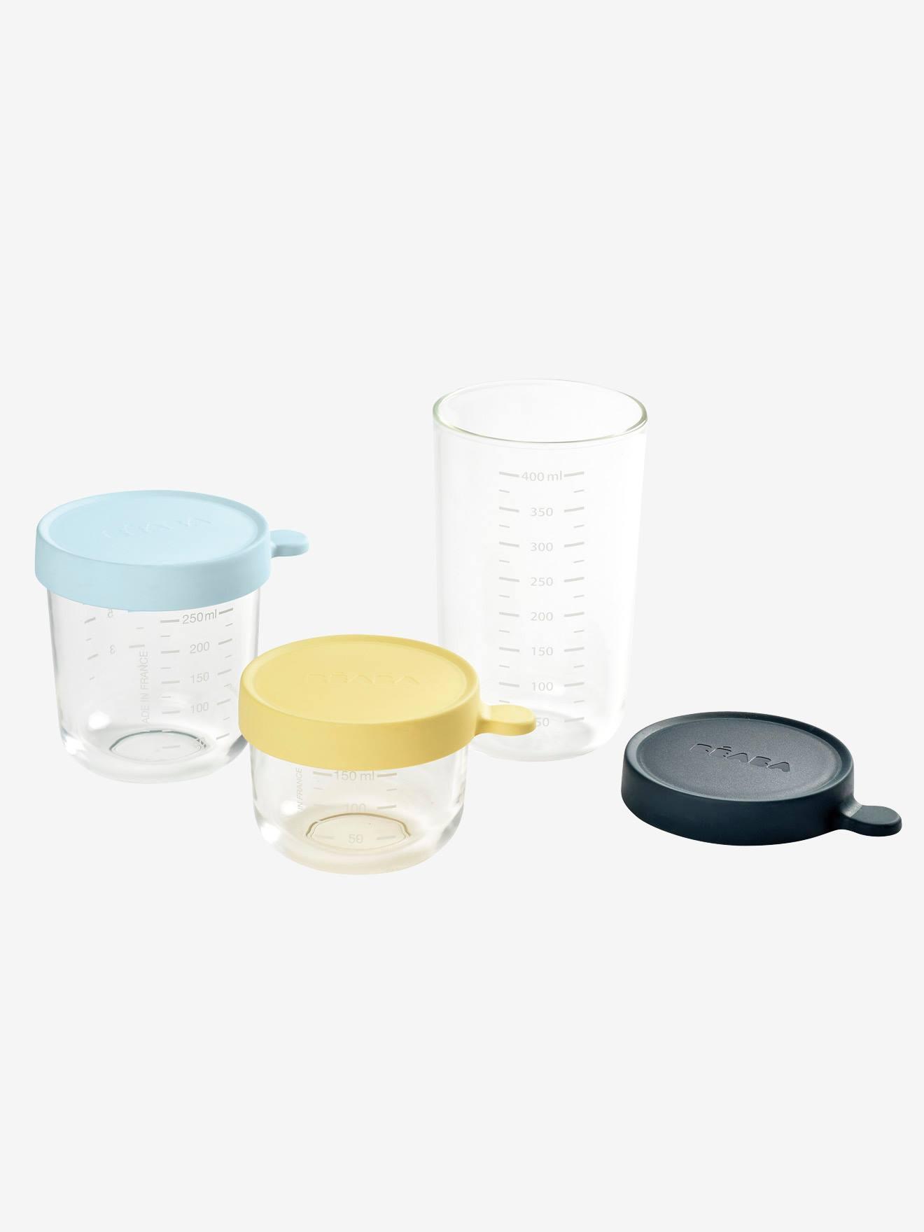 Beaba 3er-Set Vorratsdosen aus Glas von BEABA gelb/blau/blau