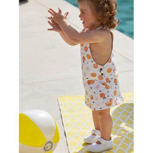 Vertbaudet Baby Mädchen Latzkleid, Zitronen weiß Gr. 68 von vertbaudet