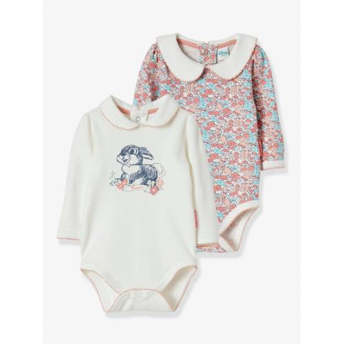 Disney 2er-Pack Baby Langarm-Bodys Disney BAMBI KLOPFER weiß/geblümt Gr. 74
