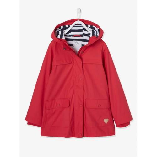 Vertbaudet Mädchen Regenjacke mit Kapuze rot Gr. 140 von vertbaudet