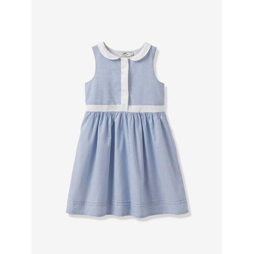 Cyrillus Mädchen-Kleid, Rundkragen blau/weiß Gr. 158
