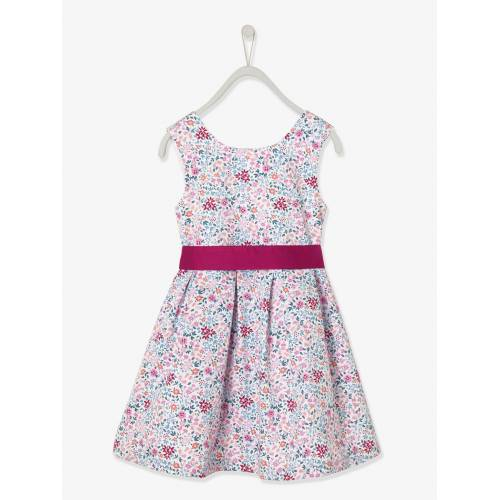 Vertbaudet Mädchen Festkleid weiß/rosa geblümt Gr. 92 von vertbaudet