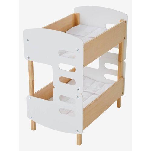 Vertbaudet Puppen-Stockbett aus Holz weiß/natur von vertbaudet