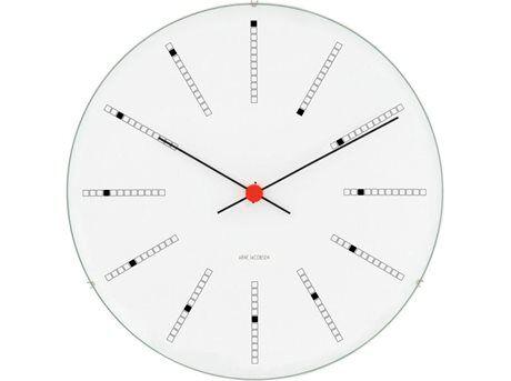 Arne Jacobsen Bankers Clock Vægur - Ø 16 cm - Mineralsk topglas/aluminium/kunststof - Hvid/sort/rød