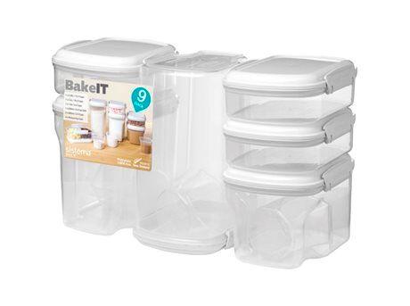 Sistema Bake-It Opbevaringsbokse - 9-pak - 2 x 685, 1 x 630, 1 x 1560, 1 x 2400, 1 x 3250 ml., 3 x cup - Plastik - Klar