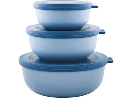 Mepal Cirqula Røreskålsæt Lav m. låg - 6 dele - 0,35/0,75/1,25 liter - PP-plastik - Nordic Blue