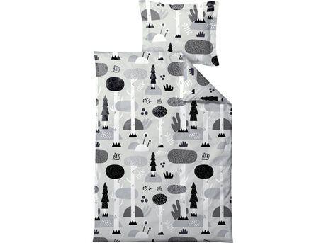Södahl Magic Forest Sengetøj - B 100 x L 140 cm - Økologisk bomuld - Grå/sort
