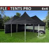 Dancover Foldetelt FleXtents Easy up pavillon PRO Peak Pagoda 6x6m, Sort, Inkl. 8 sidevæg
