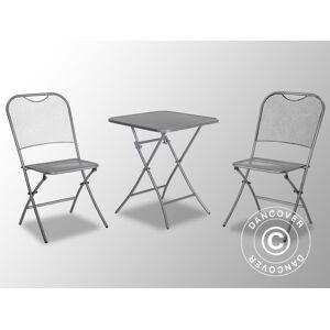 Dancover Cafésæt Café Latte, 1 bord + 2 stole, Metalgrå
