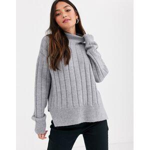 New Look— Grå trøje med bred ribstrik og slids M