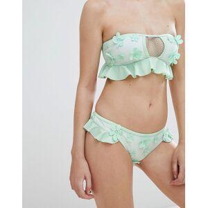 Playful Promises Hæklede bikinitrusser med3 blomstrede udsmykninger fraPlayful Promises-Grøn Green/beige