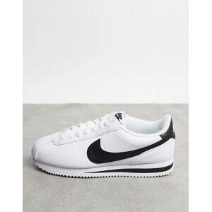Nike Hvide Cortez sneakers i skind med sort swoosh fra Nike Hvid
