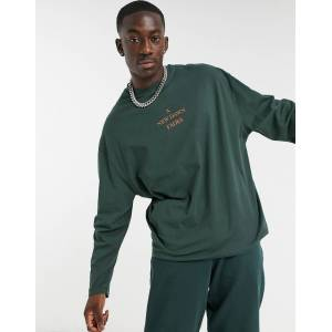 ASOS DESIGN - Oversized t-shirt med lange ærmer og tekstprint i skovgrøn L