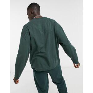 ASOS DESIGN - Oversized t-shirt med lange ærmer og tekstprint i skovgrøn XXL