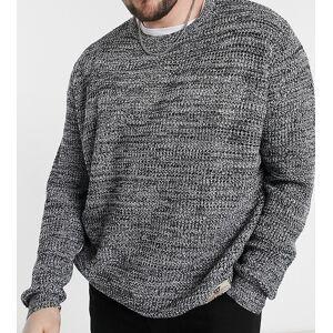 Duke - Meleret, strikket trøje med rund hals-Grå 3XL